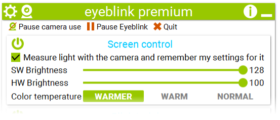 Eyeblink can adjust screen brightness automatically using camera or manually like smartphones do.