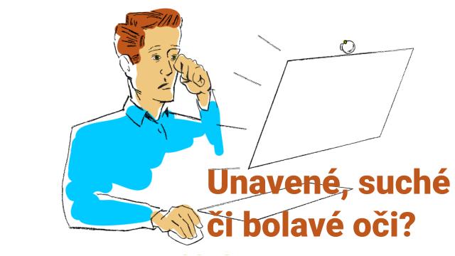 Muž, který má potíže s očima kvůli práci před obrazovkou počítače. Často se cítíte takto?