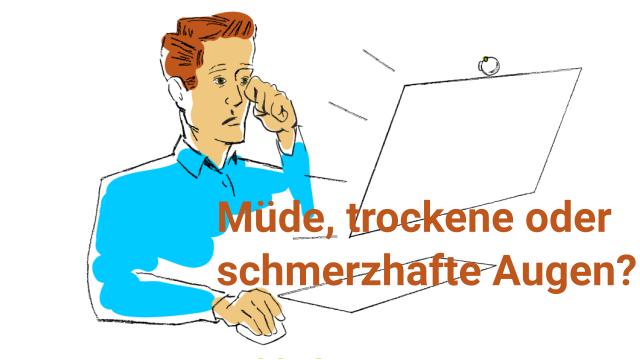 Ein Mann mit Augenproblemen aufgrund der Arbeit vor dem Computerbildschirm. Fühlen Sie sich oft so?