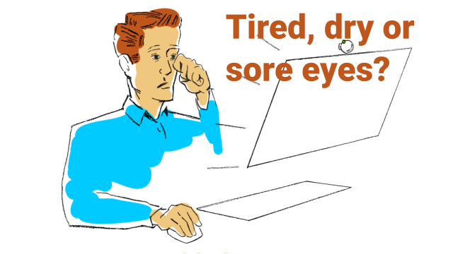 A man having eye difficulties due to work in front of the computer screen. Often feeling like this?